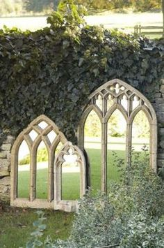 "I love this idea of old church windows and mirrors. I also love the idea of them really visually opening up the size of a small garden so you don't get that cramped ""fenced-in"" feeling!"