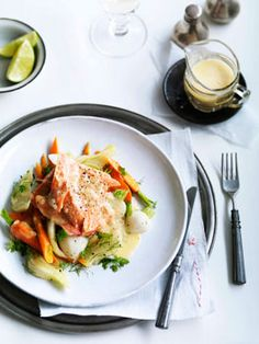 Poached trout with fennel and lime beurre blanc