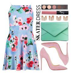 """Skater Dress"" by jyfashion ❤ liked on Polyvore featuring Boohoo, Christian Louboutin, Maison Margiela, NARS Cosmetics, MAC Cosmetics, skaterdress, floralprints and pinkandgreen"