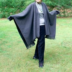 Charcoal Gray Anti Pill Fleece Wrap, Poncho, Cape or Shawl with Fringe--One Size Fits Most by YoungbearDesigns on Etsy