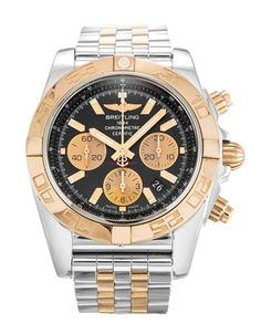 Pre-owned Breitling Chronomat 44 Gents Automatic watch. mm Steel & Rose Gold case, with Black Baton dial. In stock now, on your wrist tomorrow! Breitling Watches, Breitling Chronomat Evolution, Mens Rose Gold Watch, Expensive Watches, Gold Hands, 18k Rose Gold, Stainless Steel Case, Watches For Men