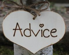 Advice Heart Sign Wood Wedding Sign Custom by MichelesCottage