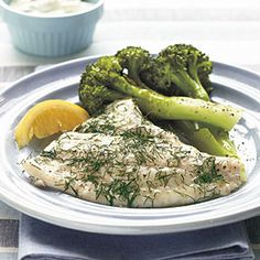 ---Baked Flounder with Dill and Caper Cream---  1/4 teaspoon black pepper  1/8 teaspoon salt  4 (6-ounce) flounder fillets  Cooking spray  1 tablespoon chopped fresh dill  1/2 cup reduced-fat sour cream  2 tablespoons capers, drained  4 lemon wedges