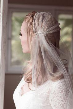 Bridal Juliet Cap Wedding Veil Bridal Illusion by veiledbeauty