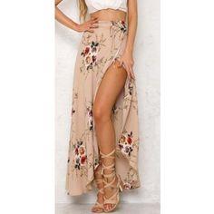 Side Split Wide Leg Floral Pants