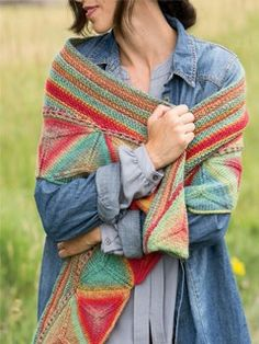 Self-striping yarn creates intriguing effects in the motifs of the Ojo de Dios Shawl. The crescent-shaped wrap is built of modular triangles and garter stitch shaped with short-rows.Finished Size: 63