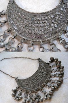 Yemen | Bedouin necklace with large crescent shaped pendant; mixed metals | ca. 1940s | Sold