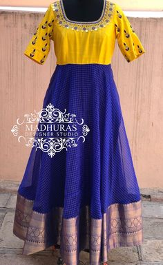 Kalamkari Dresses, Ikkat Dresses, Long Dress Design, Stylish Dress Designs, Kids Blouse Designs, Blouse Neck Designs, Lehnga Dress, Frock Dress, Frock Models