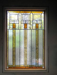 Music Room -LEADED GLASS WINDOW TO A FRANK LLOYD WRIGHT DESIGN FOR ARTS AN CRAFTS HOME