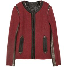 Rag & bone Taj layered wool and leather jacket ($1,595) ❤ liked on Polyvore
