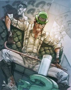 The Riddler by MiaCabrera on deviantART villain Comic Book Characters, Comic Character, Comic Books Art, Comic Art, Book Art, The Riddler, Dc Universe Online, Comic Book Villains, Gotham Villains