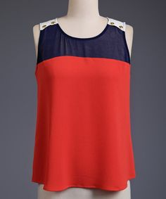 Another great find on #zulily! Perch by Blu Pepper Navy & Rust Button-Accent Tank - Plus by Perch by Blu Pepper #zulilyfinds