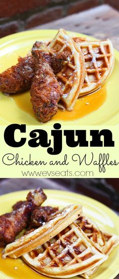 Cajun Fried Chicken and waffles are the perfect bite! Crunchy, spicy seasoned fried chicken with a slightly sweet crispy and fluffy waffle. Cajun Fried Chicken, Fried Chicken And Waffles, Fried Chicken Recipes, Waffle Recipes, Brunch Recipes, Breakfast Recipes, Dessert Recipes, Dinner Recipes, Creole Recipes