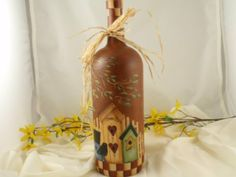 Painted Wine Bottle by Lanneys on Etsy, $20.00