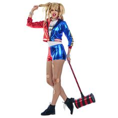 Bad Jester αποκριάτικη γυναικεία στολή κόμικ Harley quinn. Η στολή αποτελείται από το Σακάκι, Μπλούζα και το Σορτς. Εμπλουτίστε τη στολή με τα αξεσουάρ που δεν περιλαμβάνονται όπως: περούκα, τσόκερ, ρόπαλο, καλσόν, κοσμήματα. Η στολή κατασκευάζεται σε γυναικείο μέγεθος Medium. Harley Quinn, Style, Fashion, Swag, Moda, Stylus, Fashion Styles, Fashion Illustrations, Fashion Models