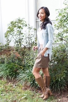 Chambray Shirt with Fall Boots - Kate Style Petite