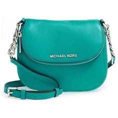 MICHAEL Michael Kors 'Bedford' Leather Crossbody Bag ($107) ❤ liked on Polyvore featuring bags, handbags, shoulder bags, tile blue, blue shoulder bag, leather purse, leather handbags, blue leather handbag and crossbody handbags