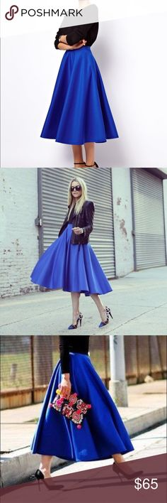 """ASOS midi skirt Never worn skirt from ASOS.Hate to part with this skirt because it's so beautiful...But I bought it and never wore it. It's basically just siting in my closet collecting dust. It's such a beautiful blue """"cobalt"""" color.The skirt can be wore all year round. It can be pair with different type of long sleeve sweaters and for the spring fitted crop tops/off the shoulder tops. So many options!oh,did I mention it also has POCKETS?🙌 89%polyester11%elastane.Waist:15in(it can…"""