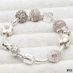 086b423bf European Style 925 Silver Charm Bracelet With Pink Flower Crystal Balls