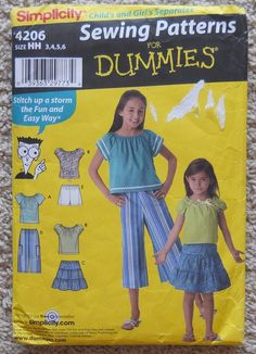 Simplicity 4206 Pattern Girls 3 4 5 6 for Dummies top skirt pants skort Childs #Simplicity
