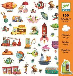 Djeco Stickerset Aufkleber Tiere unterwegs in Autos, ... 160 Sticker - Bonuspunkte sammeln, Kauf auf Rechnung, DHL Blitzlieferung!