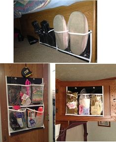I use these black  clear pocket organizers from the Dollar Store inside several cabinets and closets and also on the bed foundation to keep shoes out of the way.