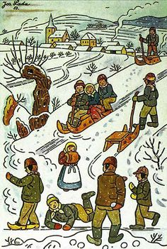 Prague, My Love: Happy Birthday, Josef Lada! Winter Illustration, Children's Book Illustration, Vintage Christmas Cards, Winter Scenes, Prague, Pretty Pictures, Illustrators, Folk Art, Happy Birthday