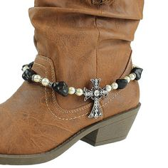 Cowgirl Fashion Boot Jewelry/Boot Bling  Beaded Pearl with Silver Crystal Cross