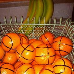 Clementines decorated as basketballs for after game snacks! Done but have several sharpies ready to rotate- the wax makes them stop working for a minute. Go to next sharpie and 1st will be ready to work again. Craft paint was too messy and my hand is too shaky for it.