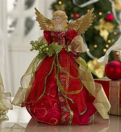 "16"" Christmas Angel Tree Topper in Ruby red"