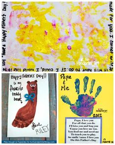 Collection of adorable Father's Day handprint and footprint crafts made by kids using sweet poems and cute sayings about dads. Dad Crafts, Fathers Day Crafts, Happy Fathers Day, Preschool Crafts, Crafts To Make, Crafts For Kids, Arts And Crafts, Preschool Ideas, Footprint Crafts