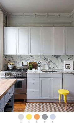 I like the crown molding and the matching counter & backsplash.