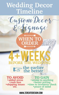 When to order your customized wedding decor - order early to save and to avoid headaches! Early brides get 10% off for ordering 6+ weeks in advance on qualifying table number orders.