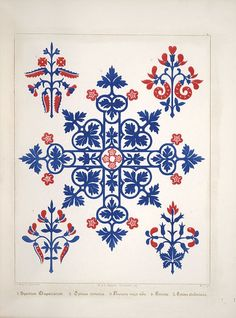 Floriated ornament, a series of thirty-one designs, 1849 - Augustus Welby Northmore Pugin. Motifs Textiles, Textile Patterns, Print Patterns, Floral Patterns, Arts And Crafts Movement, Folk Embroidery, Embroidery Patterns, Pattern Art, Pattern Design