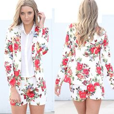 Matching floral blazer and short set at saboskirt.com