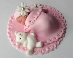 Teddy Bear cake topper CREATE A BEAUTIFUL CAKE AT HOME••• Our fondant cake toppers make designing your own special cake super easy! Choose one on our site and personalize it to your colors or have one made just for you! Fondant Cupcake Toppers, Fondant Baby, Cake Fondant, Edible Cake, Fondant Figures, Baby Shower Cupcakes, Shower Cakes, Baby Cake Topper, Sugar Art