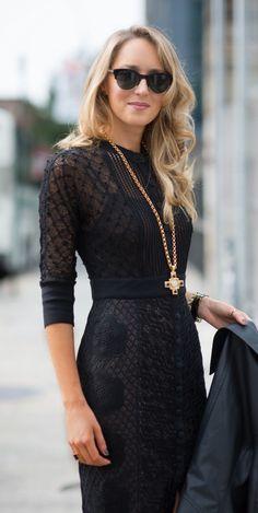 black crochet lace sheath button front dress, leather moto jacket + cross pendant necklace  |  http://www.theclassycubicle.com/2014/09/black-to-black.html