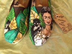 Frida kahlo custom hand painted shoes  www.facebook.com/geekedoutshoes  www.etsy.com/shop/geekedoutshoes Instagram @Al Gerke #geekedoutshoes