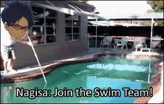 So this is basically how Rei joined the swim club....hahaha (Free! Iwatobi Swim Club gif)