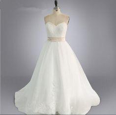 2016 Real Model Bridal Dress Sweetheart champagne sash