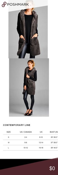 🆕 Hooded Long Vest Plush hooded long vest. Vest has open closure, above-knee length and 2 side pockets. 100% polyester. Color: charcoal. Small (2-4), Medium (6-8) and Large (10-12). Price firm unless bundled. ❌No Trades.  First three photos courtesy of April Spirit. April Spirit Jackets & Coats Vests