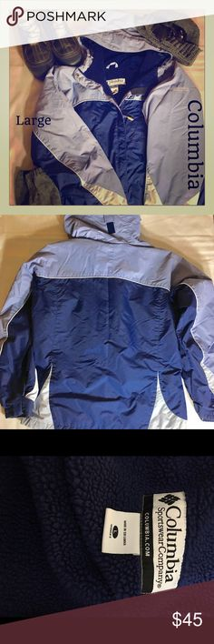 ⚡️FLASH SALE⚡️L-Columbia Fleece Lined Winter Coat This coat is very warm. It has 3 outside zippered pockets and is fleece lined. The colors are dark navy blue and light blue. There is a little bit of wear on the bottom of the sleeves and on the zipper. There is also some wear around the bottom of the jacket and a small stain. Flaws shown in pics Columbia Jackets & Coats