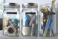 mason jar craft supply storage | simple & visually pleasing... also easier to find what your looking for