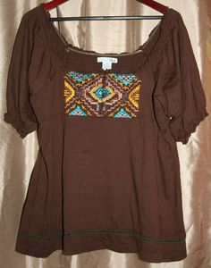 Womens RXB Dark Brown 100% Cotton Peasant Blouse Top w Embroidered Detail Sz XL #RXB #Blouse