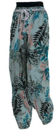 Exotic Floral Pants, Color: Slate, teal, and coral with a Black Leaf Print