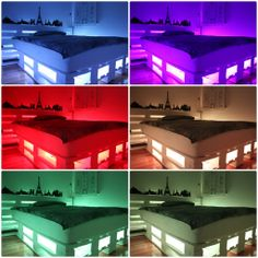 You're tired of your bed and you want some change, then DIY pallet bed LED lights can bring you some new ideas. Diy Pallet Bed, Diy Pallet Furniture, Diy Bed, Lit Plate-forme Diy, Bed With Led Lights, Palette Bed, Kids Bed Canopy, Diy Platform Bed, Pallet Creations