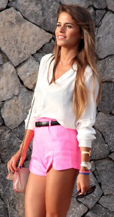 Hot pink shorts & a white button down