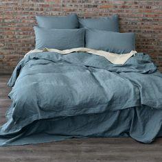 Housse de couette 1P en pur lin lavé 140x200 cm Bleu Parisien  Notre linge de lit en 100 % Lin lavé utilise la meilleure fibre de lin en provenance de France.  Les draps fabri - 12511205