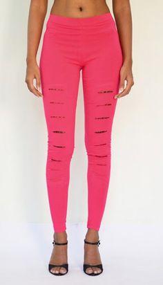 """Slits and Lace"" Cotton & Lycra Leggings- Ankle Length. Get Now : https://www.estrolo.com/product-category/women/leggings/ #PinkLegging #NewLeggingArri val #EstroloFashion"