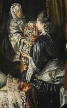 1700 Matthijs Naiveu - Visit to the Nursery (Museum De Lakenhal) Mourning Dress, England And Scotland, Baby Art, Portrait, 17th Century, Kids Outfits, Abs, Nursery, Louis Xiv